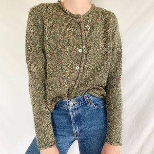Vintage 90s Y2K Brown Tan Button Cardigan Sweater